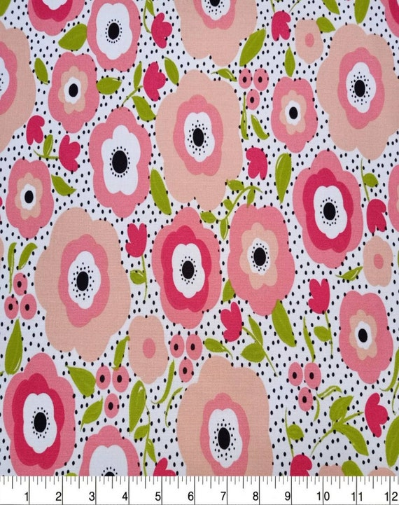 Floral Cotton Fabric - Flower Dot - Girly Posey Fabric - Spring Cotton