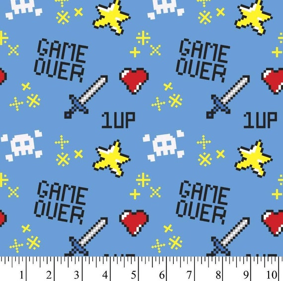 Game Over - Video Game Fabric - Level Up - Stars - Heart - Retro
