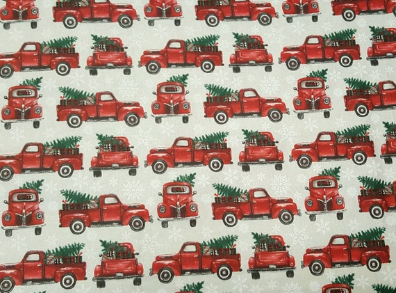 Red Christmas Truck Fabric - Red Truck Christmas Tree Fabric - Rustic Christmas Fabric - Country Christmas Fabric - Dashing Through the Snow