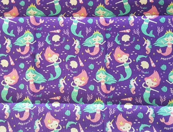 Mermaid Cotton Fabric by the Yard - Rainbow Mermaids - Watercolor Mermaids - Dolphins - Sea Horses - Squid - Octopuses
