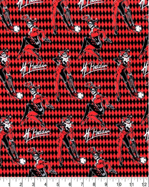 Harley Quinn Hi Puffin DC Fabric - Red Harley Quinn Fabric