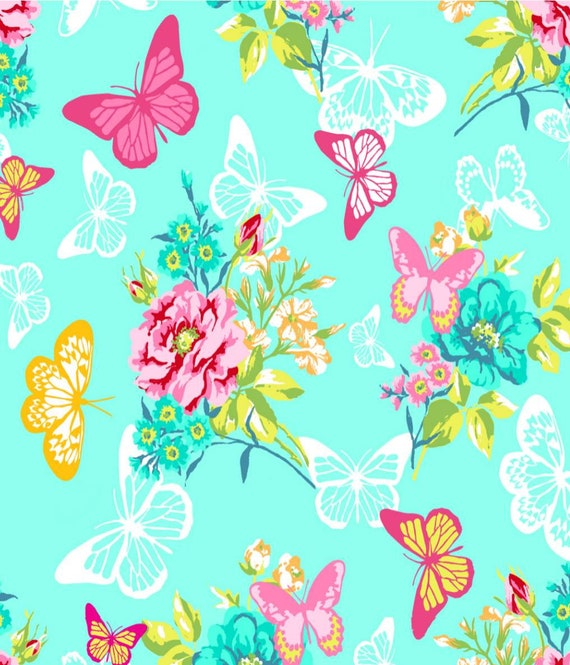Butterfly Snuggle Flannel - Mint Snuggle Flannel - Floral Flannel Fabric by the Yard