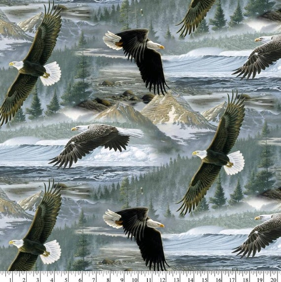 Eagle Fabric - Wilderness Fabric - Mountain Fabric - Bald Eagle  Fabric - Quilting Cotton