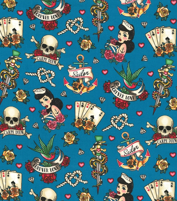 Skulls and Sailors Fabric - Forever Love - Dagger - Hearts and Anchors