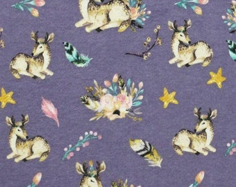 Deer Snuggle Flannel - Floral Deer Snuggle Flannel - Watercolor Flannel - Flannel Fabric by the Yard