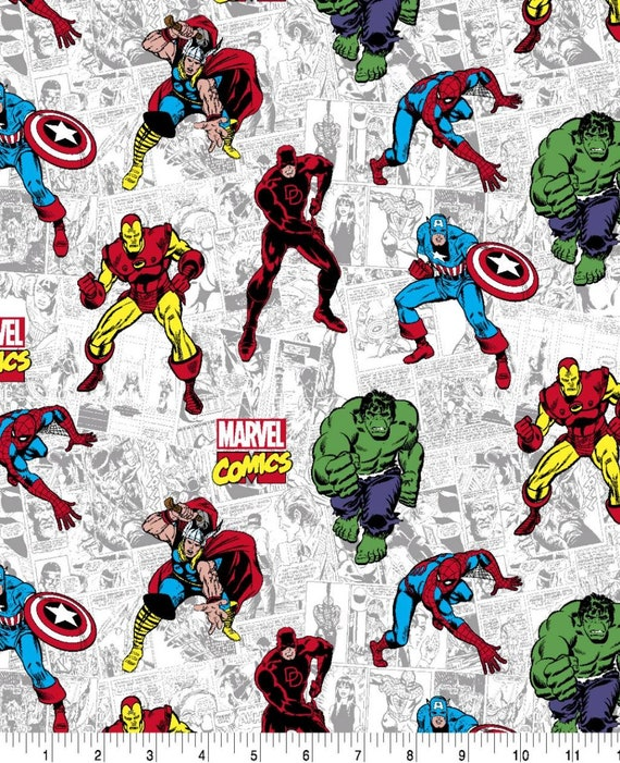 Avengers Panel Fabric - Captain America - Captain Marvel - Thor - The Hulk - Spider-man