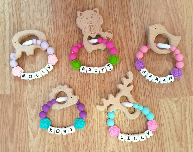Personalized Teethers  Wood Teethers  Personalized Baby image 0