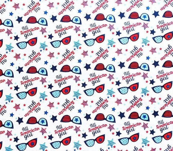 All American Girl - Patriotic Sunglasses Fabric - Patriotic Fabric - America Flag Fabric - 4th of July Fabric - Fireworks