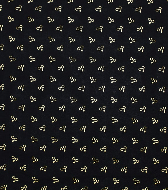 Harry Potter Fabric - Metallic Glasses and Lightning Bolt - Harry Potter Glasses Fabric - Gryffindor