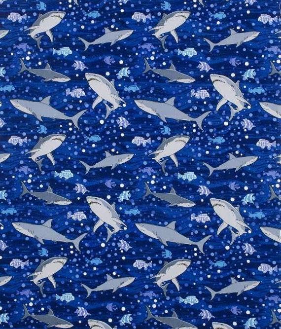 Shark Cotton Fabric - Ocean Fabric - Baby Shark Fabric - Blue Shark Fabric
