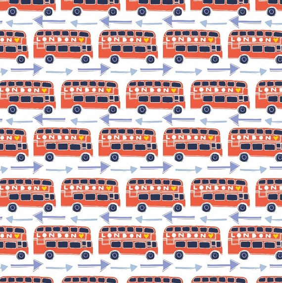 London Bus Fabric - Fabric by the Yard - Cotton Fabric by the Yard - Double Decker Bus