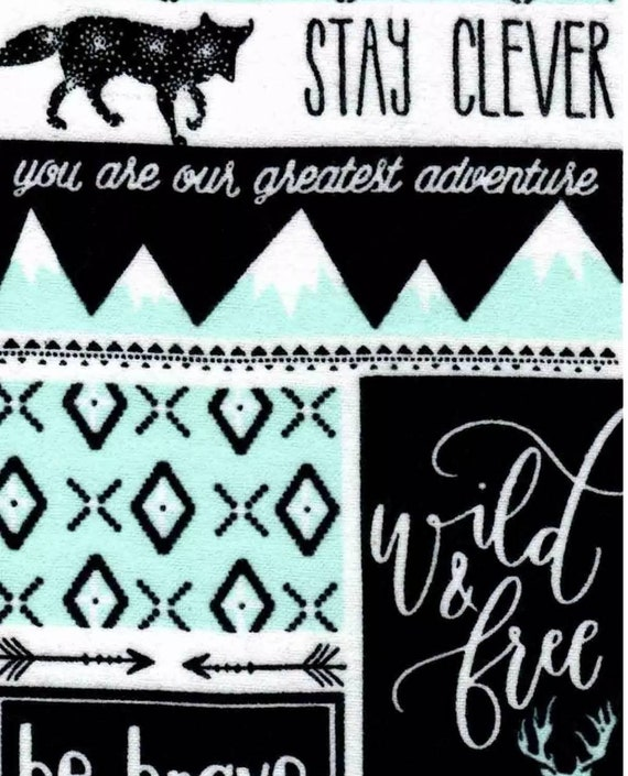 Be Brave Snuggle Flannel - Be Courageous Snuggle Flannel - Seek Adventure Flannel Fabric by the Yard