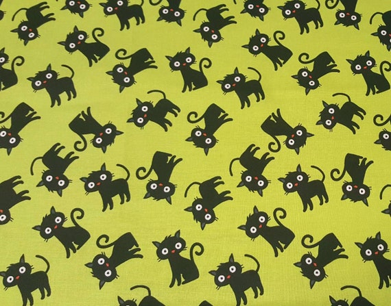 Black Cat Fabric - Binx Fabric - Cotton Halloween Fabric - Halloween Cat Fabric - Green Halloween Fabric