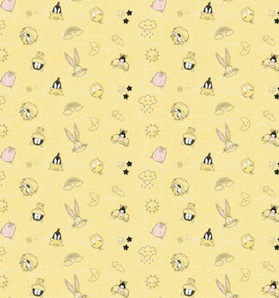 Looney Tunes Fabric - Tweety Fabric - Gray Tweety Fabric - Bugs Bunny - Daffy Duck - Silvester - Marvin the Martian - Tazz
