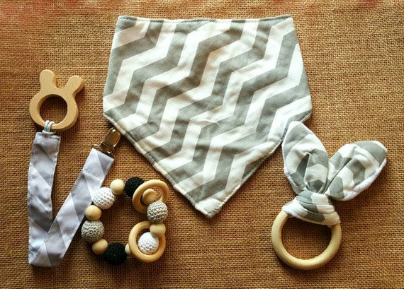Baby Gift Bundle - Bandana Bib - Pacifier Clip - Teether Bead Toy - Crinkle Fabric Teether - Baby Gift Set - Christmas Baby Teether