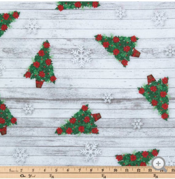 Rustic Christmas Tree Fabric - Christmas Tree Fabric - Christmas Fabric - Poinsettia Christmas Trees - Barn Wood