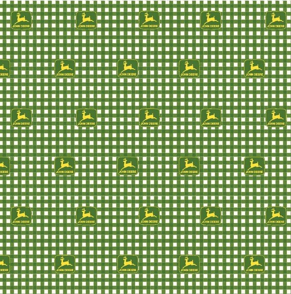 John Deer Plaid Fabric by the Yard - Green Tractor Fabric - Farm Fabric
