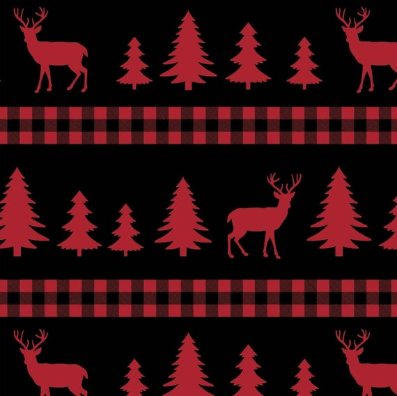 Christmas Elk Fabric - Red Elk Christmas Tree Fabric - Rustic Christmas Fabric - Country Fabric - Rustic Cabin Truck Fabric