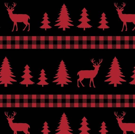 Christmas Elk Fabric - Red Elk Christmas Tree Fabric - Rustic Christmas Fabric - Country Fabric - Rustic Cabin Truck Fabric