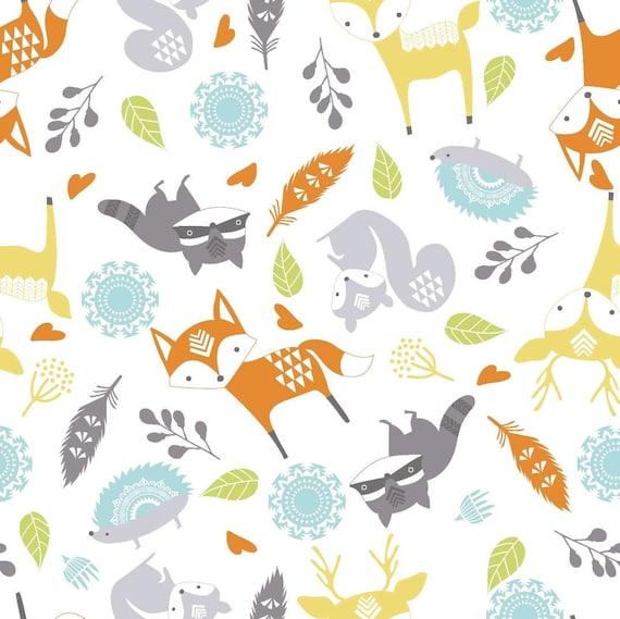 Fox Adventure Awaits Nursery Cotton- Animal Nursery Cotton - Forrest Cotton Fabric by the Yard - Cotton Fabric by the Yard