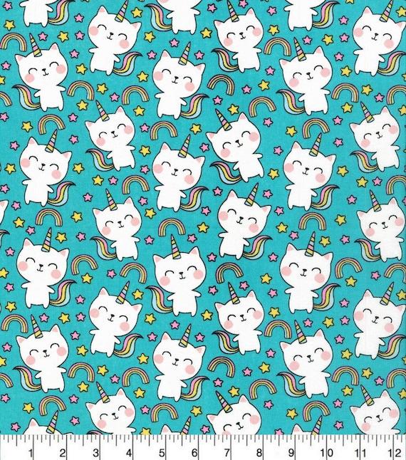 Cat Unicorn Fabric - Rainbows and Unicorn
