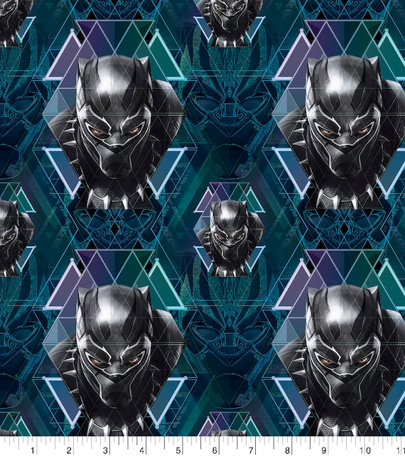 Avengers Panel Fabric - Black Panther Doodle - Captain America - Captain Marvel - Thor - The Hulk - Spider-man
