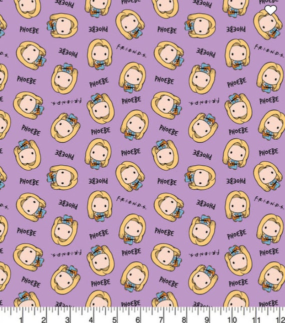 Phebe Kawaii Friends Fabric - Taxi Cab - Chick and Duck - Central Perk - Rachel - Ross - Phebe - Chandler - Joey - Monica