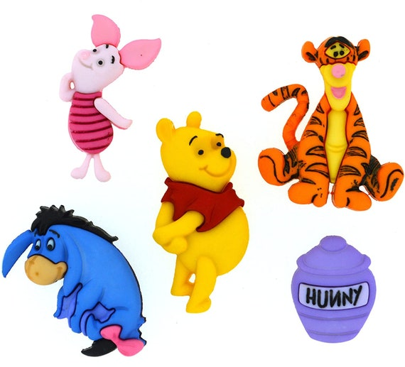 Winnie the Pooh Buttons - Kids Buttons - 100 Acre Woods - Tigger - Piglet - Honey Pot - Eeyore