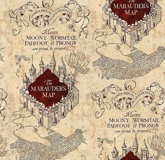 Harry Potter Marauder's Map Fabric - Harry Potter Blanket - Cursed Child - Sorcerers Stone - Hogwarts - Jersey Knit Harry Potter By The Yard