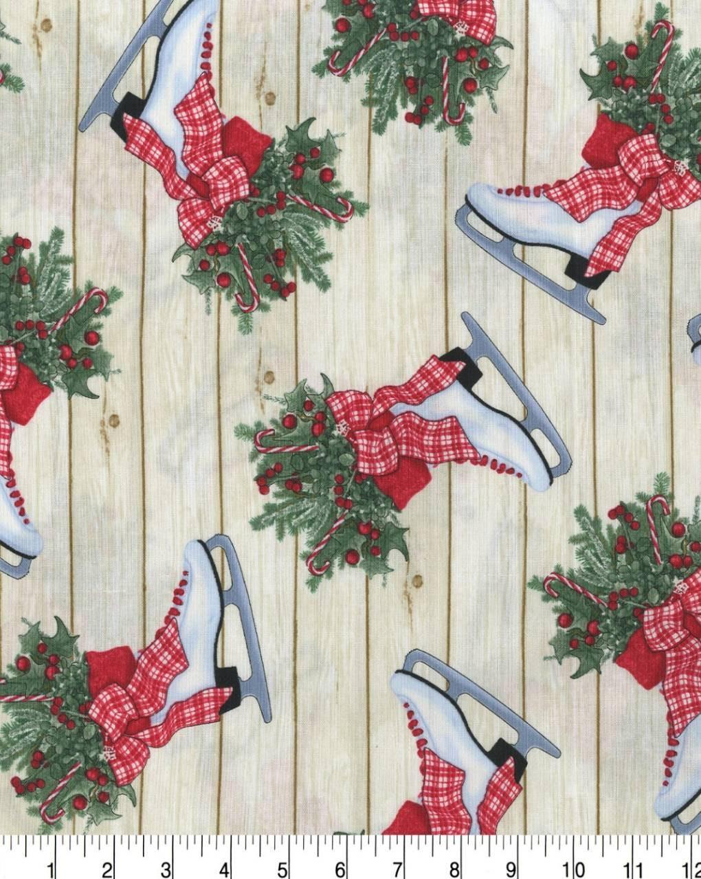 Ice Skates Christmas Fabric Country Christmas Fabric Rustic Christmas Fabric Christmas Wood Fabric Christmas Tree Fabric Usa