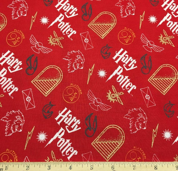 Harry Potter Gryffindor Fabric - Red Harry Potter Fabric - Quilting Cotton Harry Potter Fabric