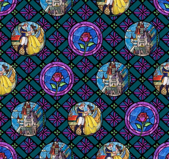 Beauty and the Beast Fabric - Stainglass Fabric - Disney Fabric by the Yard
