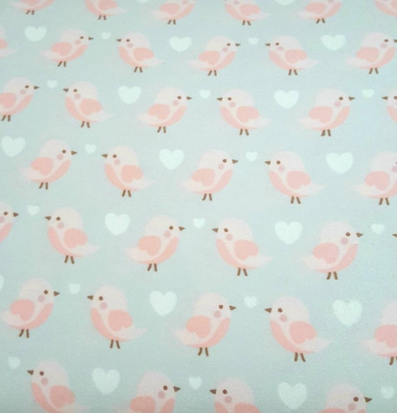 Pink Bird Snuggle Flannel - Grey Snuggle Flannel - Girly Flannel Fabric -  Heart Snuggle Fabric by the Yard