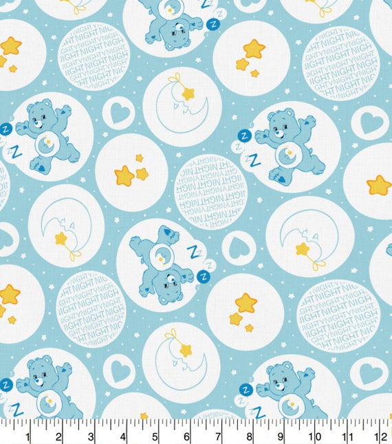 Bed Time Bear Fabric - Care Bears Fabric - Grumpy Bear - Birthday - Cheer - Friend - Funshine - Good Luck - Love-a-lot - Tenderheart - Wish