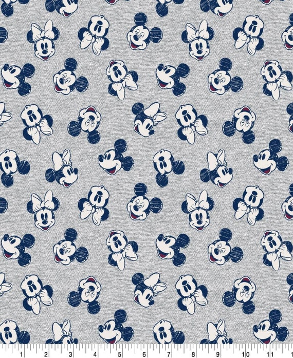 Mickey Mouse Fabric - Gray Mickey Fabric - Disney Classic Fabric - Mickey Mouse Summer - Minnie Mouse Summer