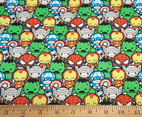 Kawaii Stacked Marvel Heads - Avengers Panel Fabric - Captain America - Captain Marvel - Thor - The Hulk - Spider-man