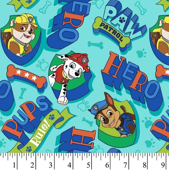 Paw Patrol Fabric - Blue Paw Patrol Fabric - Chase - Marshall - Rubble - Paw Patrol on the Roll - Sky - Everest