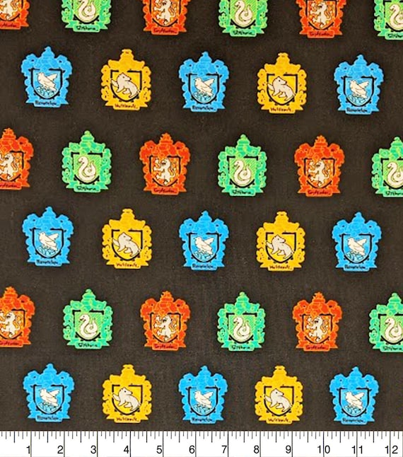 Harry Potter House Fabric - Harry Potter Gryffindor Fabric - Quilting Cotton Harry Potter Fabric - Ravenclaw - Slytherin - Hufflepuff