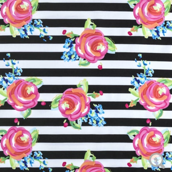 Water Flowers and Stripe Fabric - Black and White Stripe Fapric - Apparel Fabric