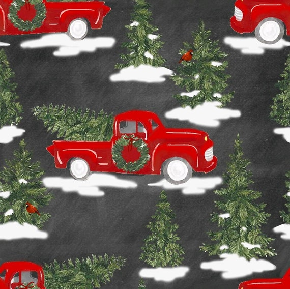 Christmas Truck Fabric - Red Truck Christmas Tree Fabric - Rustic Christmas Fabric - Country Christmas Fabric - Rustic Red Truck Fabric
