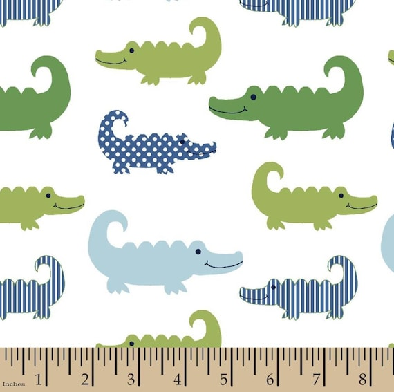 Alligator Snuggle Flannel - Boy Snuggle Flannel - Swamp Flannel Fabric - Crocodile Fabric by the Yard