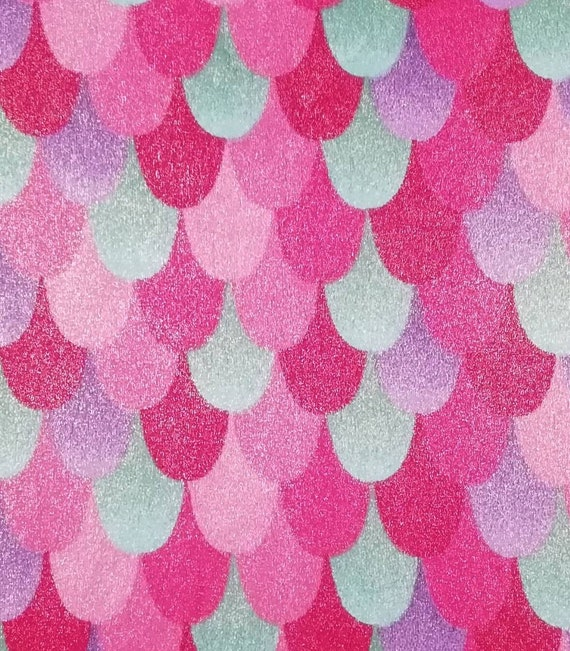 Mermaid Minky Fabric - Mermaid Scales Metalic Fabric - Pink Mermaid Minky Fabric
