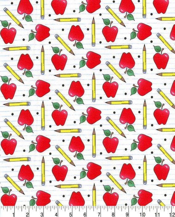 Teacher Apple Fabric - Science Teacher Fabric - Chemistry Teacher Fabric - Math Teacher Fabric - Teaching