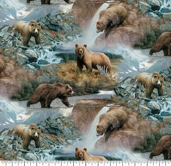 Grizzly Bear Fabric - Wilderness Fabric - Mountain Fabric - Bear Fabric - Quilting Cotton