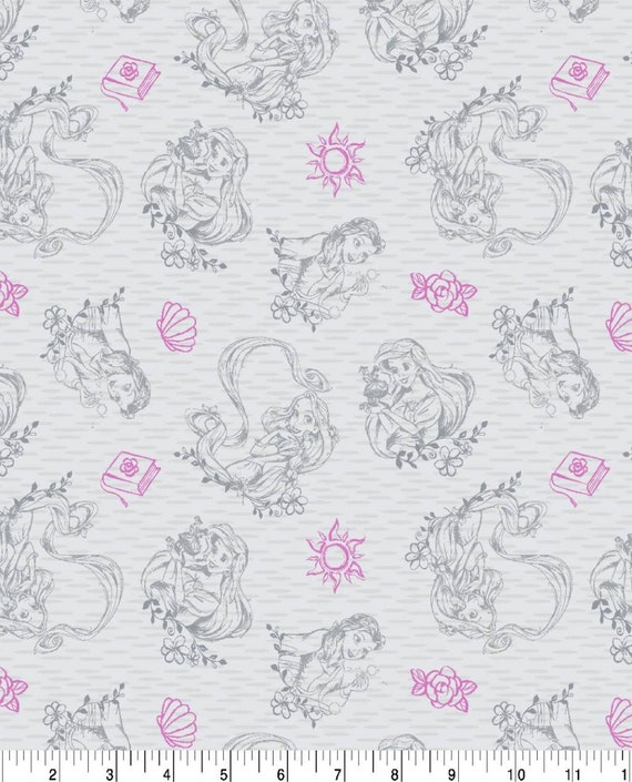 Disney Princess Fabric on Gray - Beauty and the Beast Fabric - Rapunzel Fabric - Disney Classic Fabric