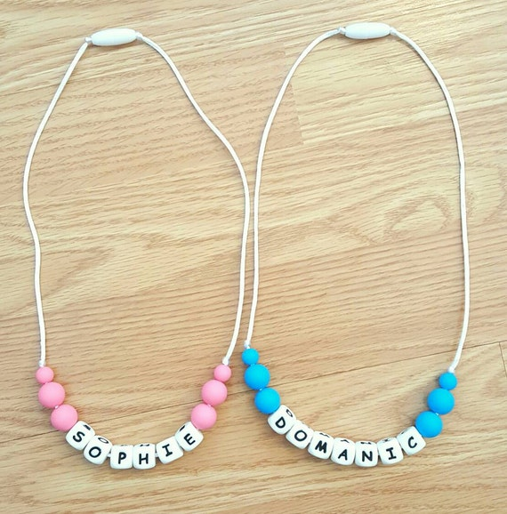 Personalized Toddler Teether Necklace - Teether Toy - Personalized Toddler Necklace - Baby Shower Gift - New Mom Gift
