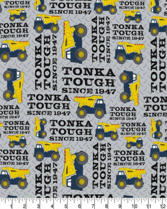 Tonka Truck Fabric - Quilting Cotton - Yellow Dump Truck Fabric - Construction