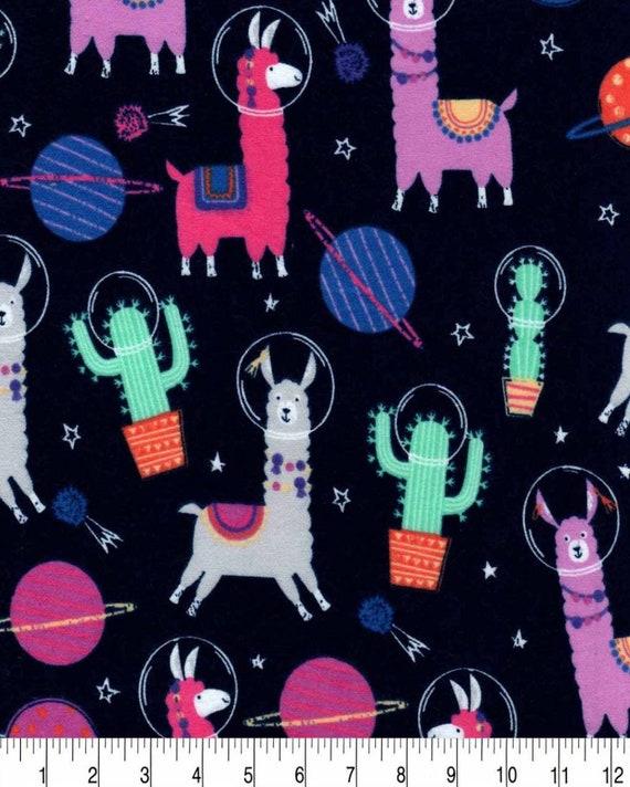 Teal Llama Super Snuggle Flannel - Llama fabric - Turquoise Llama Fabric