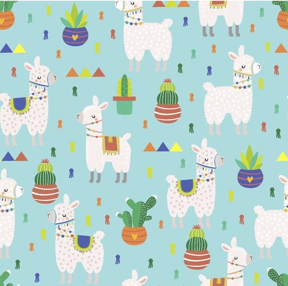 Llama Cactus Fabric - Blue Llama Fabric - Cactus - Flowers - Llama
