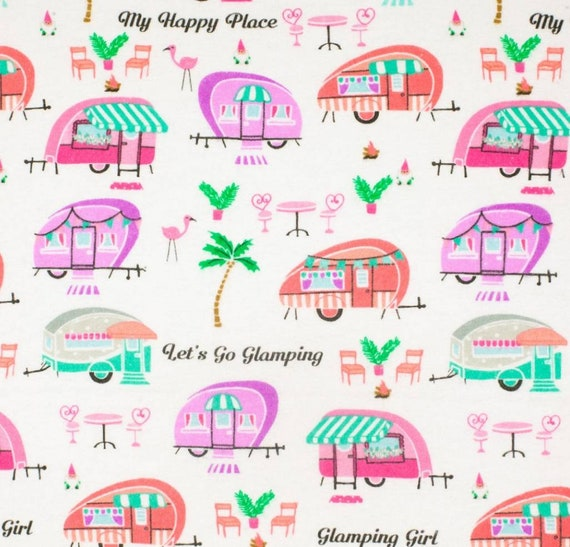 Glamping Snuggle Flannel - Camping Snuggle Flannel - Adventure Awaits Flannel Fabric by the Yard - Flamingo Flannel